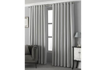 Riva Home Pendleton Ringtop Eyelet Curtains (Silver) (229 x 137cm)