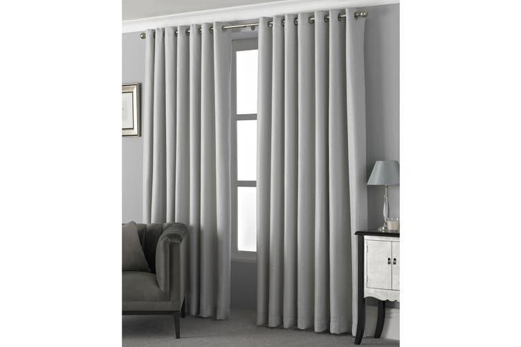 Riva Home Pendleton Ringtop Eyelet Curtains (Silver) (229 x 137cm)