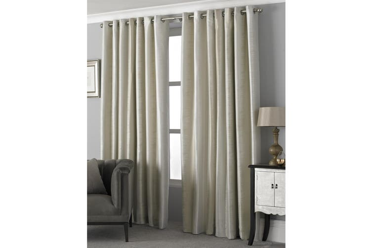 Riva Home Hurlingham Ringtop Eyelet Curtains (Champagne) (168 x 137cm)