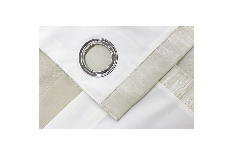 Riva Home Hurlingham Ringtop Eyelet Curtains (Champagne) (168 x 183cm)