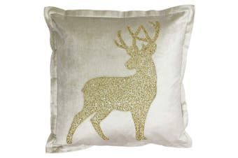 Riva Paoletti Wonderland Prancer Christmas Cushion Cover (Champagne) (50x50cm)