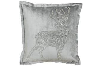Riva Paoletti Wonderland Prancer Christmas Cushion Cover (Silver) (50x50cm)