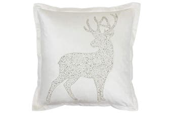 Riva Paoletti Wonderland Prancer Christmas Cushion Cover (White) (50x50cm)