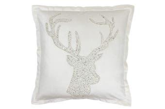 Riva Paoletti Wonderland Stag Christmas Cushion Cover (White) (50x50cm)
