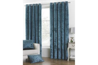 Riva Paoletti Verona Eyelet Curtains (Teal) (90 x 54in)