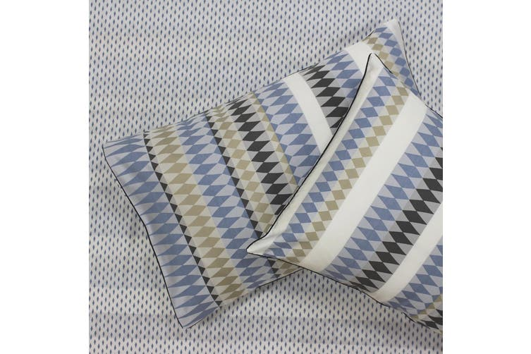 Linen House Northbrook Pillowcase Pair (Indigo) (50 x 75cm)