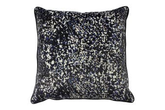 Furn Mika Abstract Painted Design Feather Filled Cushion (Blue/Terracotta) (50 x 50cm)