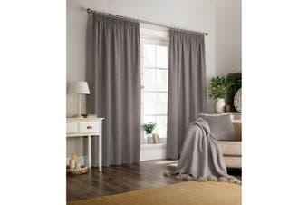 Furn Harrison Pencil Pleat Faux Wool Curtains (Pair) (Grey) - UTRV1528