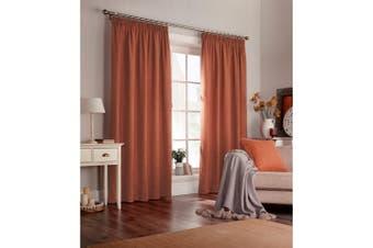 Furn Harrison Pencil Pleat Faux Wool Curtains (Pair) (Burnt Orange) - UTRV1528