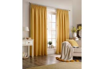 Furn Harrison Pencil Pleat Faux Wool Curtains (Pair) (Ochre Yellow) - UTRV1528
