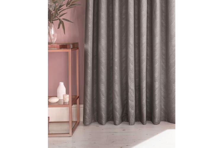 Furn Himalaya Jacquard Design Eyelet Curtains (Pair) (Silver) (117x183cm)