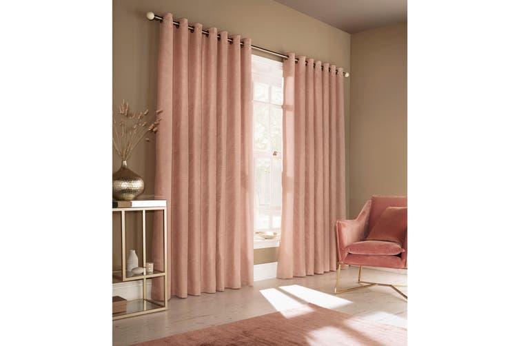 Furn Himalaya Jacquard Design Eyelet Curtains (Pair) (Blush Pink) (229x183cm)