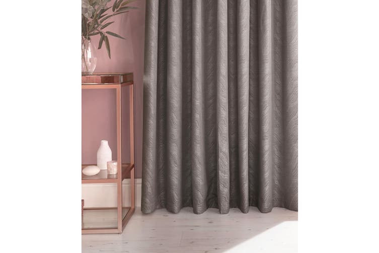 Furn Himalaya Jacquard Design Eyelet Curtains (Pair) (Silver) (229x229cm)