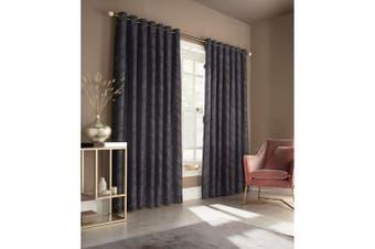 Furn Himalaya Jacquard Design Eyelet Curtains (Pair) (Navy) - UTRV1534