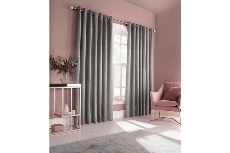 Furn Himalaya Jacquard Design Eyelet Curtains (Pair) (Silver) (229x183cm)