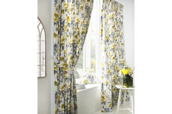 Furn Peony Vibrant Coloured Floral Pleat Curtains (Ochre) (168cm x 229cm)