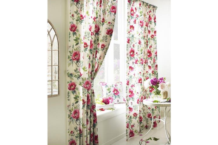 Furn Peony Vibrant Coloured Floral Pleat Curtains (Fuchsia) (229cm x 183cm)
