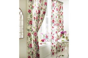 Furn Peony Vibrant Coloured Floral Pleat Curtains (Fuchsia) - UTRV1538