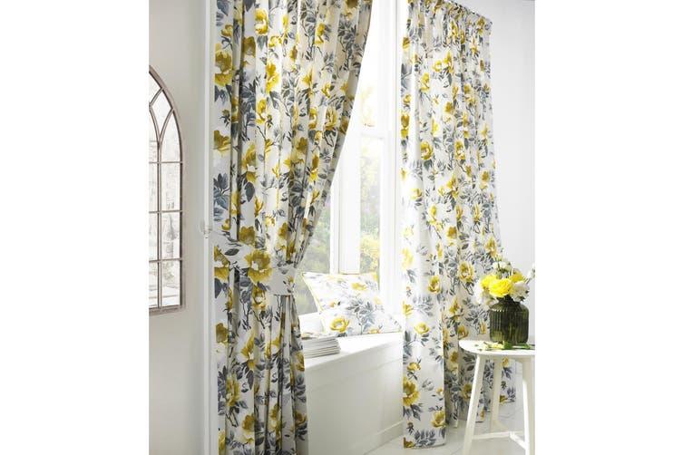 Furn Peony Vibrant Coloured Floral Pleat Curtains (Ochre) (168cm x 137cm)