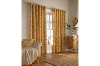 Furn Irwin Woodland Design Ringtop Eyelet Curtains (Pair) (Mustard) - UTRV1548