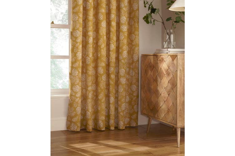 Furn Irwin Woodland Design Ringtop Eyelet Curtains (Pair) (Mustard) (117x183cm)