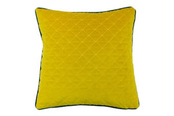 Riva Home Quartz Cushion Cover with Geometric Diamond Design (Ceylon Yellow/Petro Blue) (One Size)