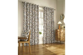 Furn Reno Ringtop Geometric Eyelet Curtains (Charcoal/Gold) - UTRV1559