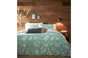 Creative Cloth Moorland Birds Wildlife Duvet Cover Set (Mint Green) (Super King)