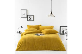 Furn Sherpa Fleece Fabric Duvet Cover Set (Ochre Yellow) - UTRV1588
