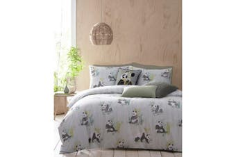 Furn Pandas Duvet Cover Set (Mint Green) (Double)