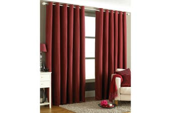 Riva Home Tobago Ringtop Curtains (Burgundy) (66x72 (168x183cm))