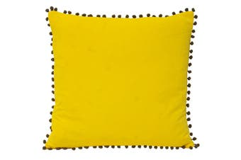 Riva Home Velvet Pompom Cushion Cover (Yellow/Grey) (45x45cm)