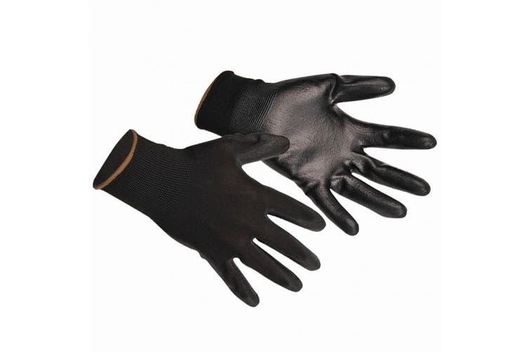 Portwest PU Palm Coated Gloves (A120) / Workwear (Black) (M)