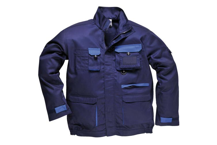 Portwest Mens Contrast Hardwearing Workwear Jacket (TX10) (Navy) (L)