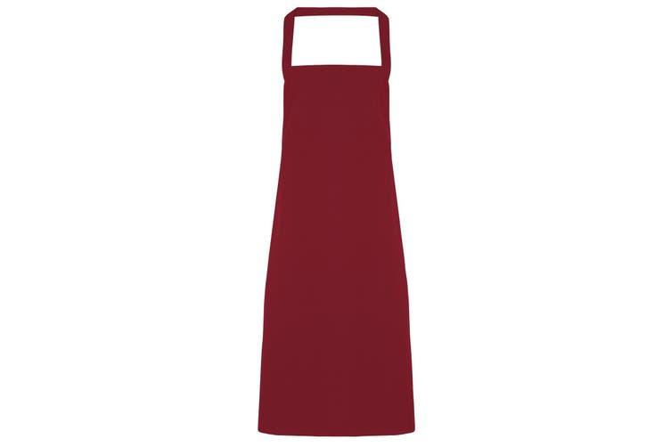 Premier Ladies/Womens Slim Apron (no Pocket) / Workwear (Burgundy) (One Size)