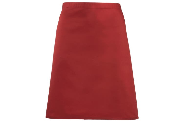 Premier Ladies/Womens Mid-Length Apron (Red) (One Size)