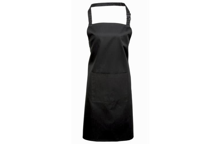 Premier Ladies/Womens Colours Bip Apron With Pocket / Workwear (Black) (One Size)