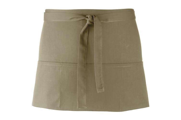 Premier Ladies/Womens Colours 3 Pocket Apron / Workwear (Olive) (One Size)