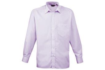 Premier Mens Long Sleeve Formal Plain Work Poplin Shirt (Lilac) (15)