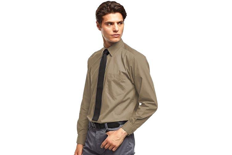 Premier Mens Long Sleeve Formal Plain Work Poplin Shirt (Khaki) (19)