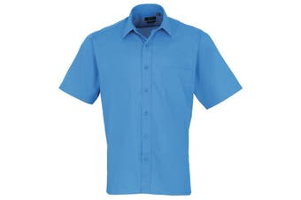 Premier Mens Short Sleeve Formal Poplin Plain Work Shirt (Sapphire) - UTRW1082