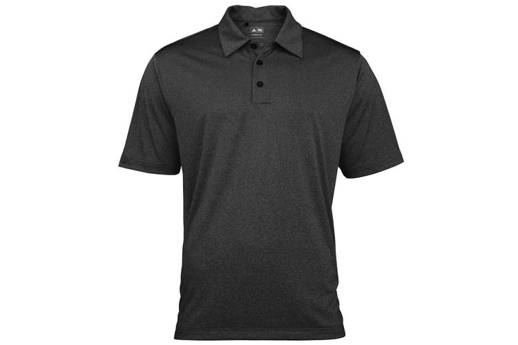 Adidas Golf Climalite Mens Heather Polo Shirt (Black Heather/White) (S)