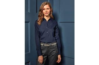 Premier Womens/Ladies Poplin Long Sleeve Blouse / Plain Work Shirt (Natural) (22)