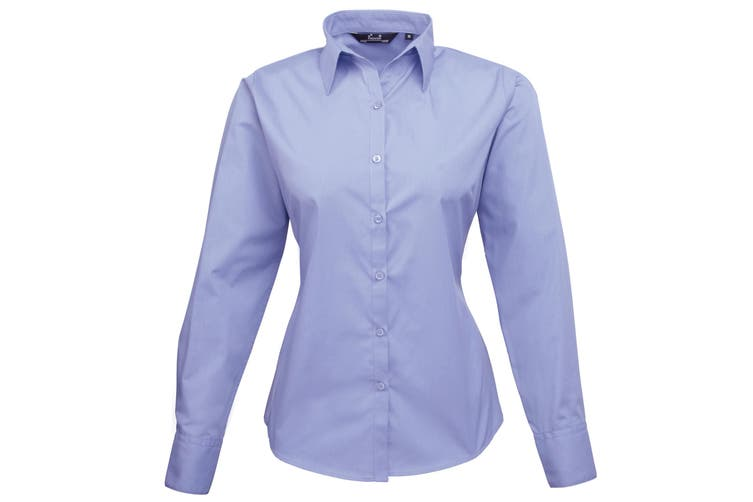 Premier Womens/Ladies Poplin Long Sleeve Blouse / Plain Work Shirt (Mid blue) (20)