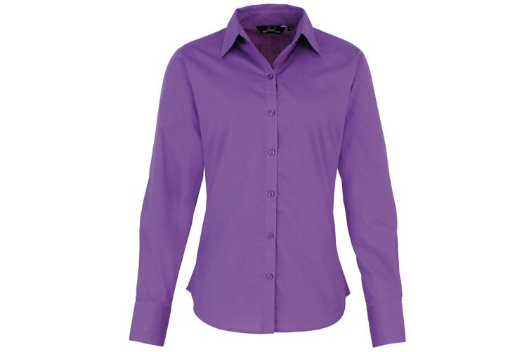 Premier Womens/Ladies Poplin Long Sleeve Blouse / Plain Work Shirt (Rich Violet) (8)