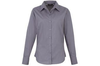 Premier Womens/Ladies Poplin Long Sleeve Blouse / Plain Work Shirt (Steel) (26)