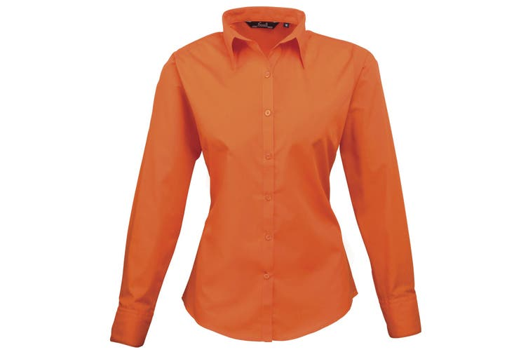 Premier Womens/Ladies Poplin Long Sleeve Blouse / Plain Work Shirt (Orange) (12)
