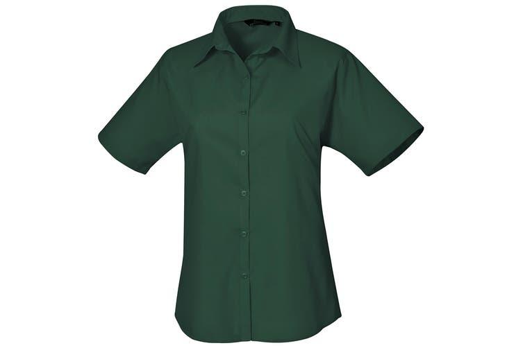Premier Short Sleeve Poplin Blouse / Plain Work Shirt (Bottle) (8)