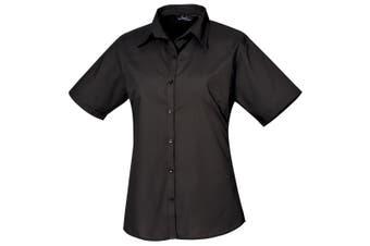 Premier Short Sleeve Poplin Blouse / Plain Work Shirt (Black) (12)