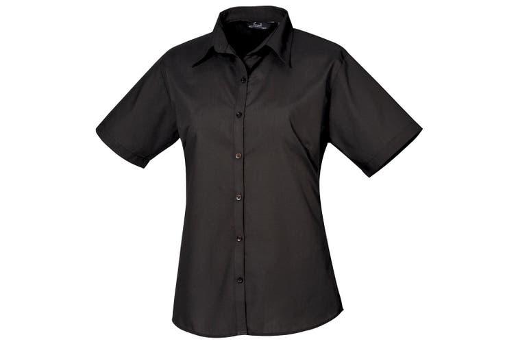 Premier Short Sleeve Poplin Blouse / Plain Work Shirt (Black) (20)